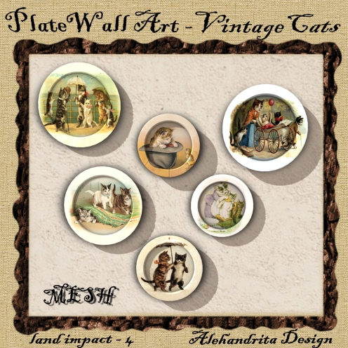 Plate wall art - vintage cats