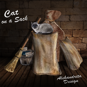 cat on a sack